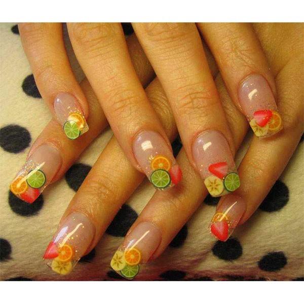 Маникюр фрукты на ногтях