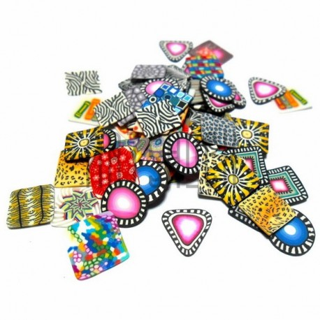 Набор нарезанных фимо - палочек для дизайна ногтей, из полимерной глины, 0.9 x 0.9 см., 3 грамма