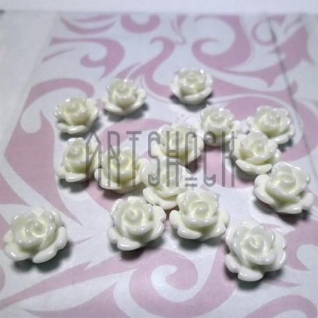 Набор белых декоративных акриловых камей - розочек, Ø10 мм., 15 штук, REGINA