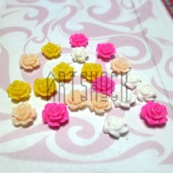 Набор цветных декоративных акриловых камей - розочек, Ø7 мм., 20 штук, REGINA