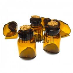 Стеклянные мини бутылочки коричневого цвета с корковой пробкой для украшений и парфюмерии, Ø1.6 см., высота 2.2 см.
