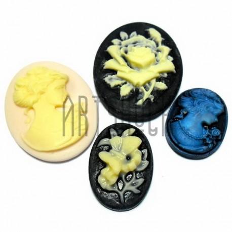 """Набор цветных декоративных акриловых овальных камей - """"Дама, Цветок с бабочкой, Девушка"""", 18 - 40 мм., 4 штуки, REGINA, REGINA"""