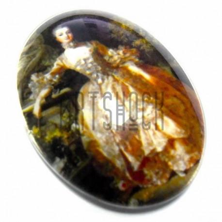 Кабошон - линза стеклянный, овальный с плоским основанием, 30 - 40 мм., 1 штука, REGINA