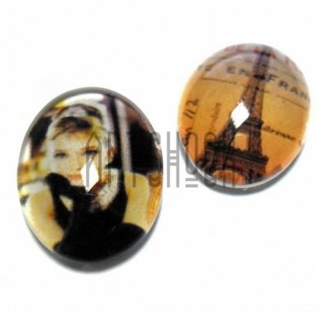 Набор кабошонов - линз стеклянных, овальных с плоским основанием, 13 - 18 мм., 2 штуки, REGINA