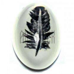 Кабошон - линза стеклянный, овальный с плоским основанием, 19 x 30 мм., 1 штука, REGINA