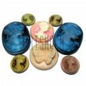 """Набор цветных декоративных акриловых овальных и круглых камей - """"Дама, Бабочка, Девушка"""", 10 - 25 мм., 8 штук, REGINA"""