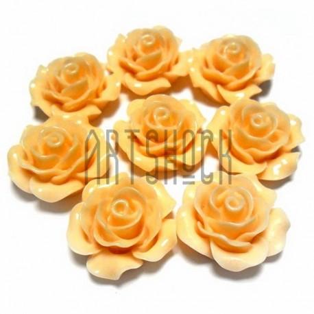 Набор кремовых декоративных акриловых камей - розочек, Ø20 мм., 8 штук, REGINA
