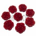 Набор красных декоративных акриловых камей - розочек, Ø20 мм., 8 штук, REGINA