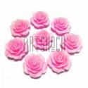 Набор розовых декоративных акриловых камей - розочек, Ø20 мм., 8 штук, REGINA