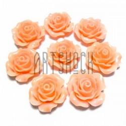 Набор персиковых декоративных акриловых камей - розочек, Ø20 мм., 8 штук, REGINA