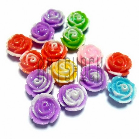 Набор цветных декоративных акриловых камей - розочек, с глиттером, Ø10 мм., 15 штук, REGINA