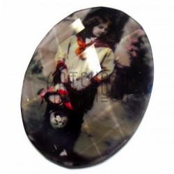 Кабошон - линза стеклянный, овальный с гранями и плоским основанием, mix, 30 x 40 мм., 1 штука, REGINA