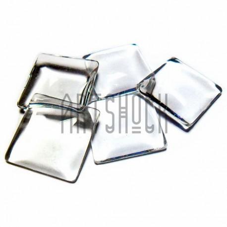 Набор заготовок для кабошонов - линз стеклянных, прозрачных, квадратных с плоским основанием, 20 x 20 мм., 5 штук, REGINA