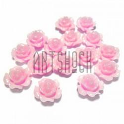 Набор розовых декоративных акриловых камей - розочек, Ø11 мм., высота 6 мм., 15 штук, REGINA