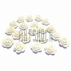 Набор белых декоративных акриловых камей - розочек, Ø9 мм., высота 5 мм., 20 штук, REGINA