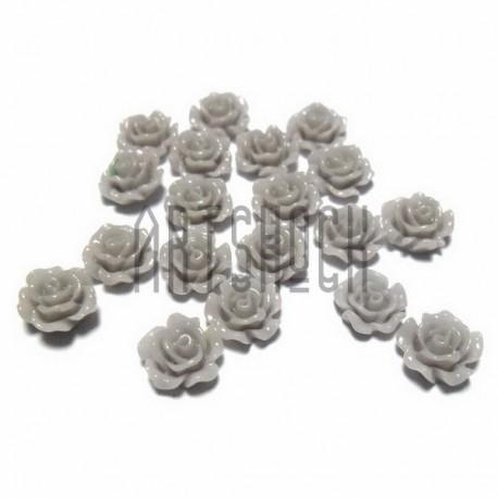 Набор серых декоративных акриловых камей - розочек, Ø6 мм., высота 3 мм., 20 штук, REGINA