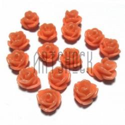 Набор морковных декоративных акриловых камей - розочек, Ø7 мм., высота 6 мм., 15 штук, REGINA