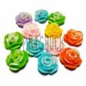 Набор цветных декоративных акриловых камей - розочек, микс с глиттером, Ø12 мм., 12 штук, REGINA