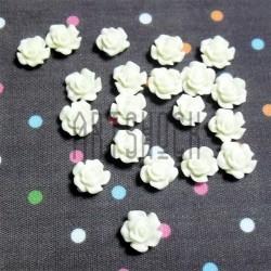 Набор белых декоративных акриловых камей - розочек, Ø7 мм., высота 4 мм., 20 штук, REGINA