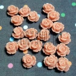 Набор персиковых декоративных акриловых камей - розочек, Ø8 мм., высота 4 мм., 15 штук, REGINA