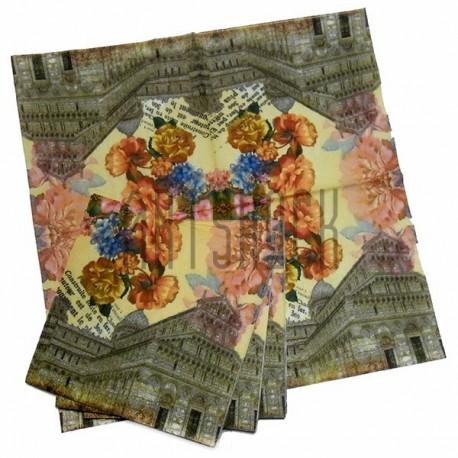 """Салфетка для декупажа """"Эйфелевая башня и розы"""", 33 x 33 см., 20 штук, REGINA"""