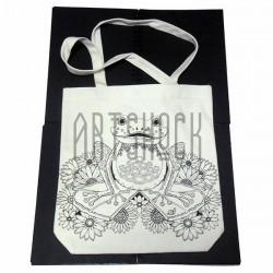 Эко - сумка хлопковая, раскраска - антистресс, 32.5 x 36 x 8 см., Secret Garden - Птица с ключом