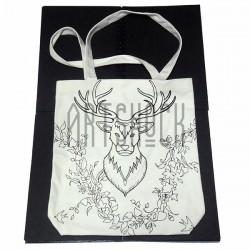 Эко - сумка хлопковая, раскраска - антистресс, 32.5 x 36 x 8 см., Secret Garden - Олень