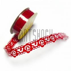 "Лента самоклеящаяся ""Цветок в узоре красный"" трафаретная, ширина 18 мм., длина 1 м."
