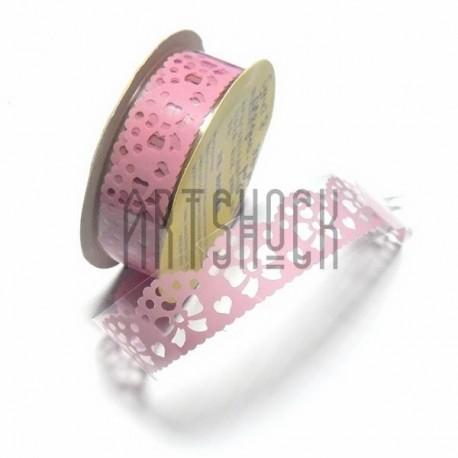 """Лента самоклеящаяся """"Бант в узоре бледно - розовый"""" трафаретная, ширина 18 мм., длина 1 м."""