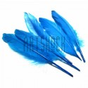 Набор натуральных декоративных перьев, бирюзовых, 20 - 23 см., 5 штук, REGINA