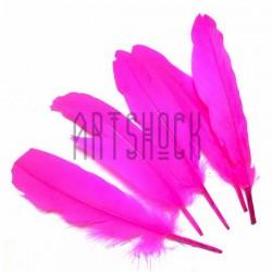 Набор натуральных декоративных перьев, розовых, 20 - 23 см., 5 штук, REGINA