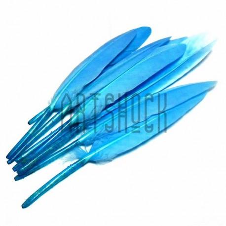 Набор натуральных декоративных перьев, голубых, 12 - 15 см., 8 штук, REGINA