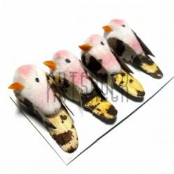 Набор декоративных птичек - голубей для декора, розовых пятнистых, 2 x 3.5 см., 4 штуки, REGINA