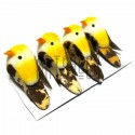 Набор декоративных птичек - голубей для декора, жёлтых пятнистых, 2 x 3.5 см., 4 штуки, REGINA