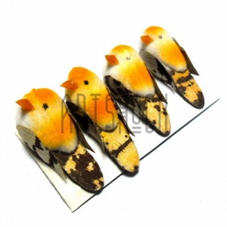 Набор декоративных птичек - голубей для декора, оранжевых пятнистых, 2 x 3.5 см., 4 штуки, REGINA
