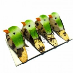 Набор декоративных птичек - голубей для декора, зелёных пятнистых, 2 x 3.5 см., 4 штуки, REGINA