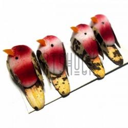 Набор декоративных птичек - голубей для декора, красных пятнистых, 2 x 3.5 см., 4 штуки, REGINA