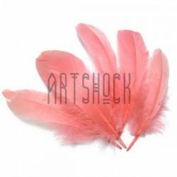 Набор натуральных декоративных перьев, розовых светлых, 20 - 23 см., 5 штук, REGINA