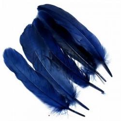 Набор натуральных декоративных перьев, темно - синих, 20 - 23 см., 5 штук, REGINA