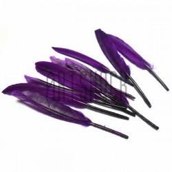Набор натуральных декоративных перьев, сиреневых, 12 - 15 см., 10 штук, REGINA