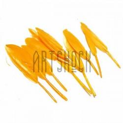 Набор натуральных декоративных перьев, желтых, 12 - 15 см., 11 штук, REGINA