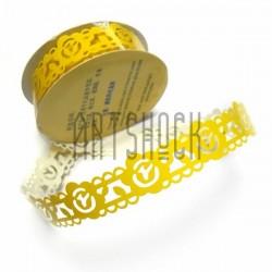 "Лента самоклеящаяся ""Цветок в узоре желтый"" трафаретная, ширина 18 мм., длина 1 м."