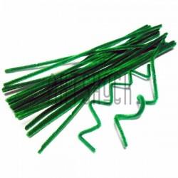 Зеленая пушистая проволока шенил (синельная проволока, декоративный ёршик)