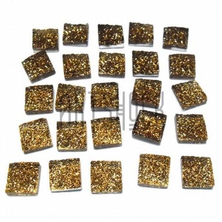 Набор бронзовых керамических стеклышек для мозаики, витража и творчества, 10 x 10 мм., 25 штук, REGINA
