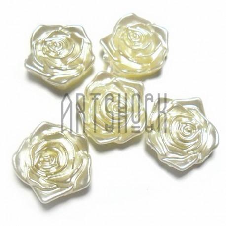 Набор белых декоративных перламутровых полубусин под жемчуг, Ø1.9 см., 5 штук, REGINA