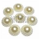 Набор белых декоративных перламутровых полубусин с кантом под жемчуг, Ø17 мм., 8 штук, REGINA