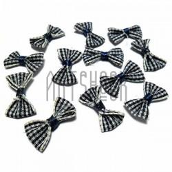 Набор декоративных тканевых бантиков бело - синяя полоска, 2.5 см., 12 штук, REGINA