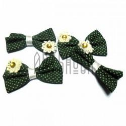 Набор зелёных декоративных тканевых бантиков (горошек) с камнем, 4.5 см., 4 штуки, REGINA