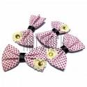 Набор розовых декоративных тканевых бантиков (горошек) с камнем, 4.5 см., 4 штуки, REGINA