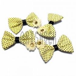 Набор желтых декоративных тканевых бантиков (горошек) с камнем, 4.5 см., 4 штуки, REGINA